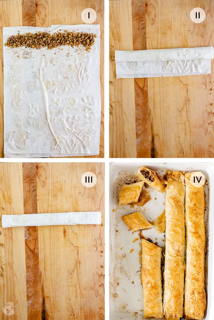 Four-steps photos to making rolled baklava.