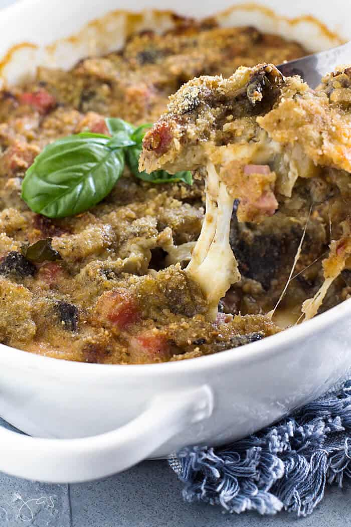Eggplant Pasticcio Casserole with Ham & Cheese