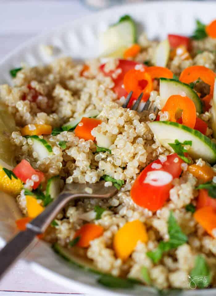 A close up of Quinoa and Salad