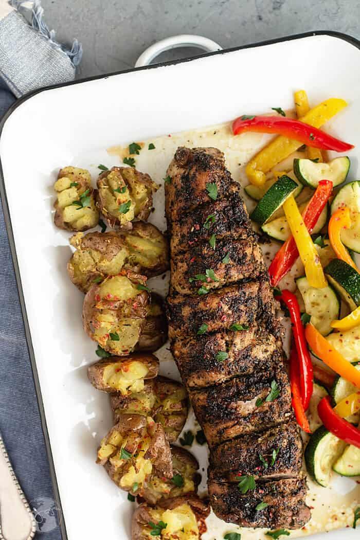 Pork tenderloin with Italian salad dressing glaze