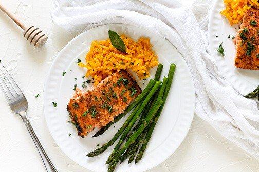 Honey Mustard Glazed Salmon Filet | All that's Jas