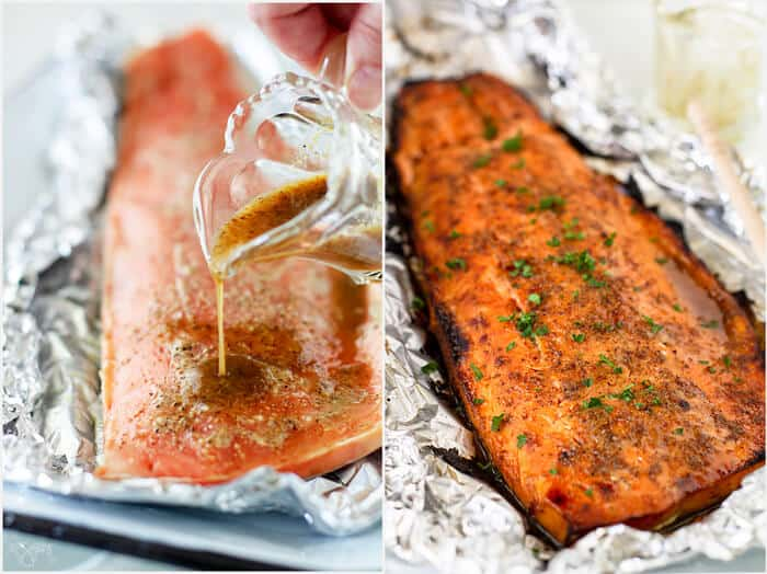 Salmon filet glazed with honey mustard sauce and broiled