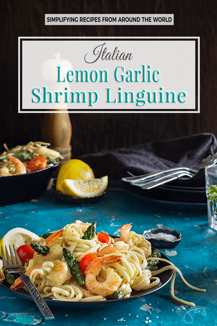 Lemon Garlic Shrimp Linguine: Quick, easy, creamy, and mouth-watering lemon garlic shrimp linguine with asparagus will be your family's new favorite dish! | allthatsjas.com | #pasta #shrimp #recipe #dinner #easy #quick #asparagus #lemon #garlic #marscapone #linguine