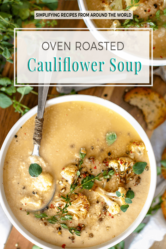 This oven roasted cauliflower soup is made with only 5 simple ingredients, incredibly tasty, and good for you too! | allthatsjas.com | #soup #cauliflower #vegan #vegetarian #easy # recipe #creamy #ovenroasted