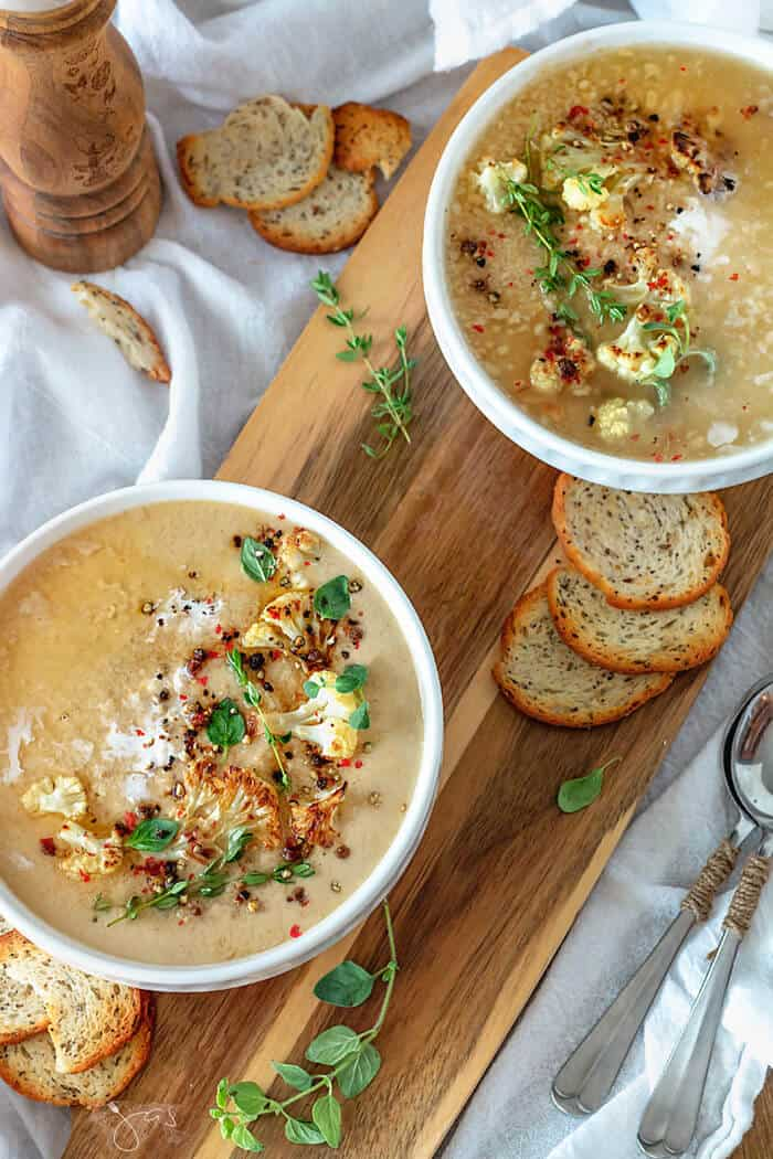 Easy recipe for oven roasted cauliflower delicious soup