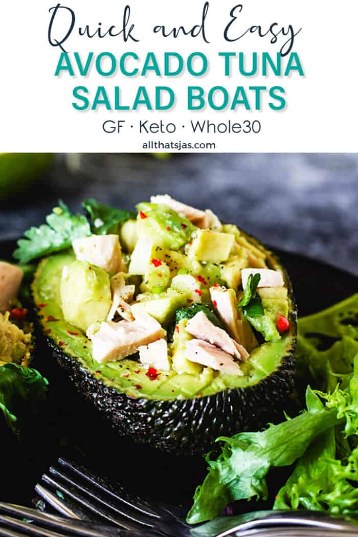 Avocado skin filled with tuna and avocado salad with text overlay.