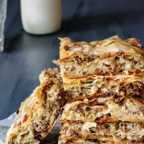 Layered Fillo Meat Pie - Burek