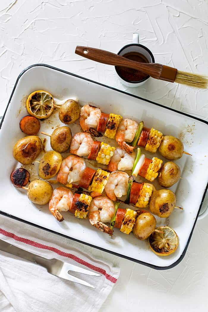 Quick and easy shrimp kebabs or grilled low country boil