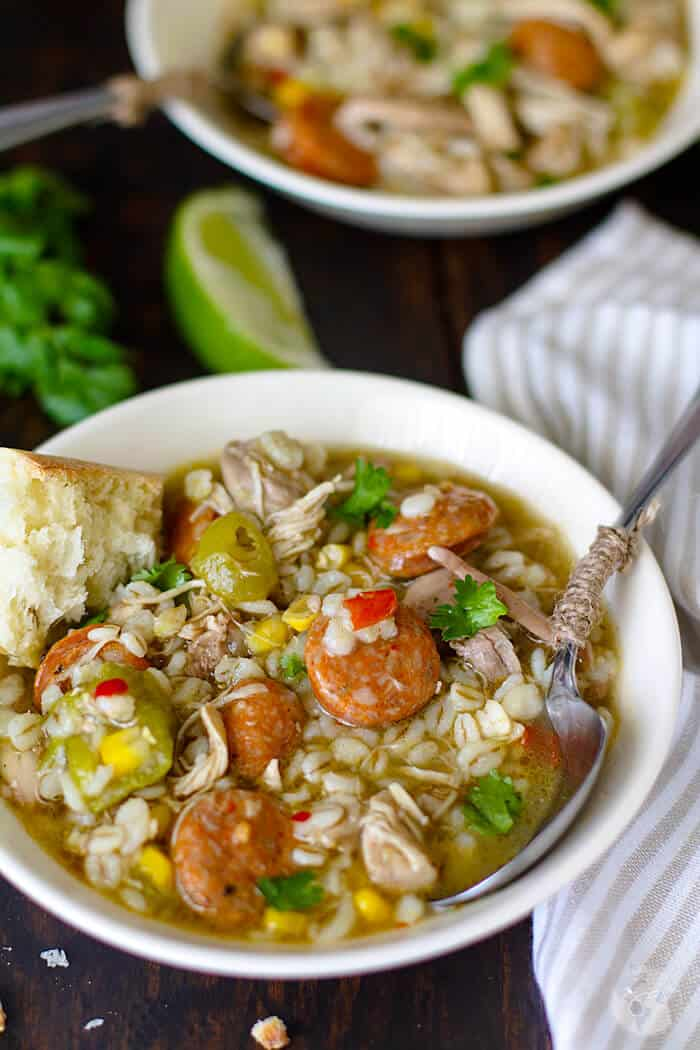 Delicious recipe for Cajun chicken gumbo with barley.