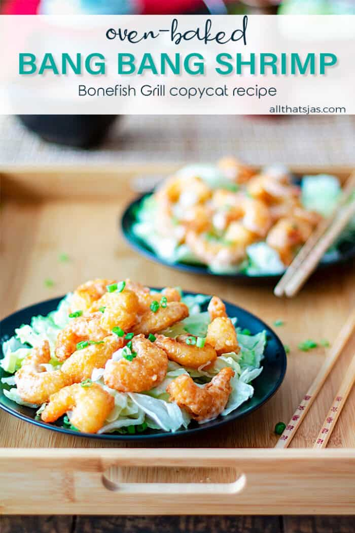 Two black plates with bang bang shrimp over lettuce and with text overlay