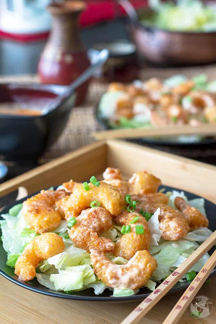 Close up shot of the shrimp dish.