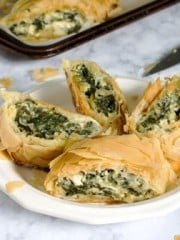 Spinach and cheese Phyllo Pie on a plate