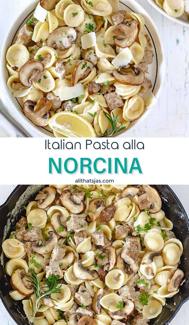 Two photo image of Italian pasta dish with text overlay in the middle.