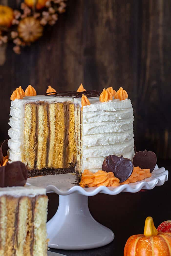 Vertical layer cake with pumpkin orange and chocolate flavors.