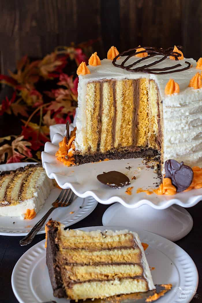 Perfect for holidays and celebrations, this pumpkin cake with vertical layers is as pretty as it is tasty.