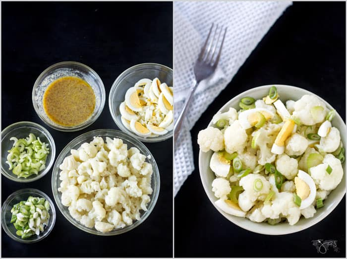 Ingredients for cauliflower salad