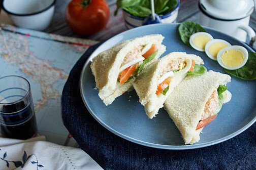 A plate with sandwiches