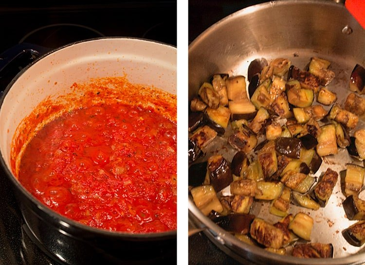 Two photos with pots with tomato sauce and roasted eggplants.