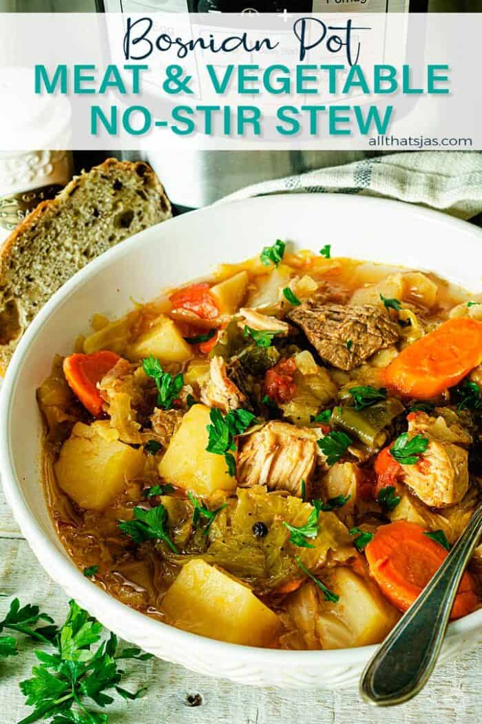 Bowl of stew with text overlay.