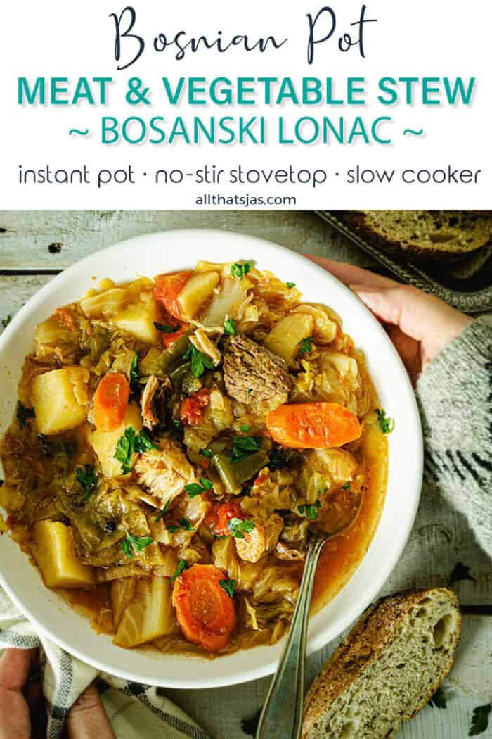 A serving of Bosnian winter stew with text overlay.