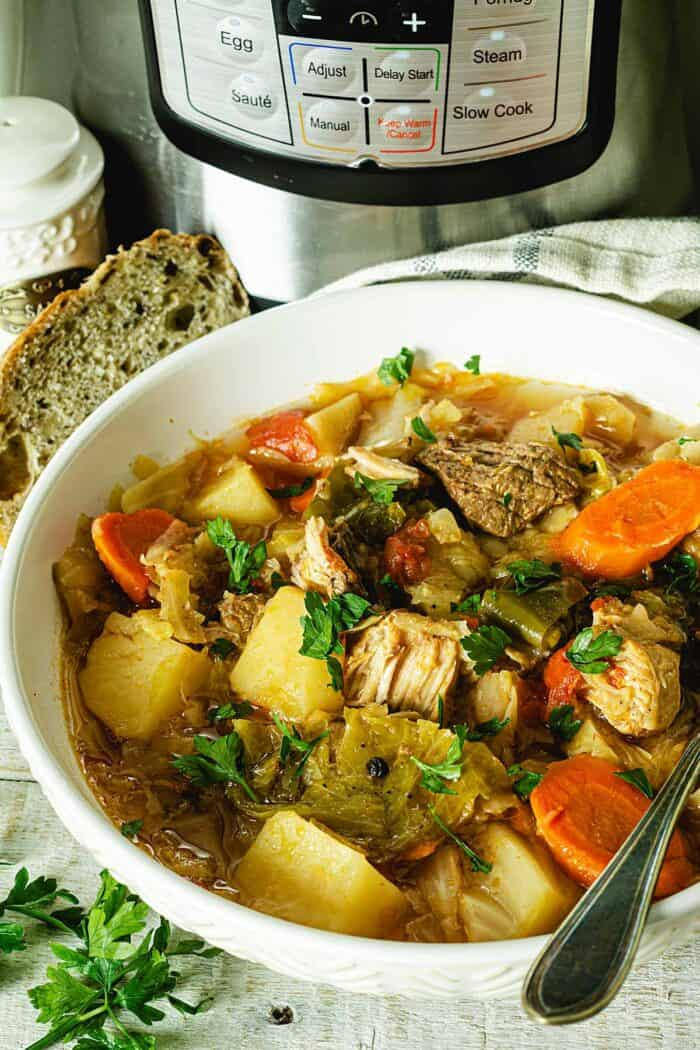 A bowl of cabbage stew with instant pot in the background.