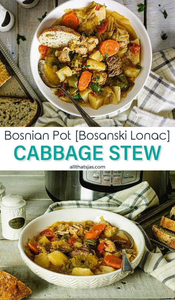 Two photo image of the cooked Bosnian Pot dish with text overlay in the middle.