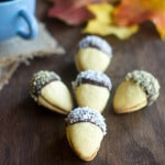 Acorn Cookies, cookies in shape of acorn, Croatia, Bosnia, shortbread cookie with jelly filling, chocolate, fall, autumn