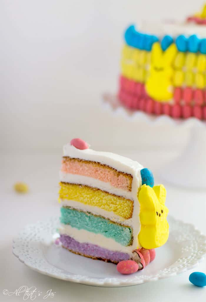 This multi colored layered cake is great for Easter.
