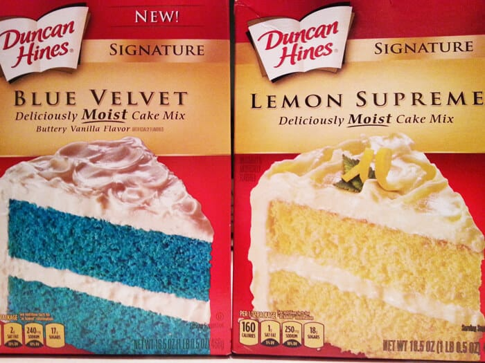 These blue and lemon cake box mixes are easy to make.