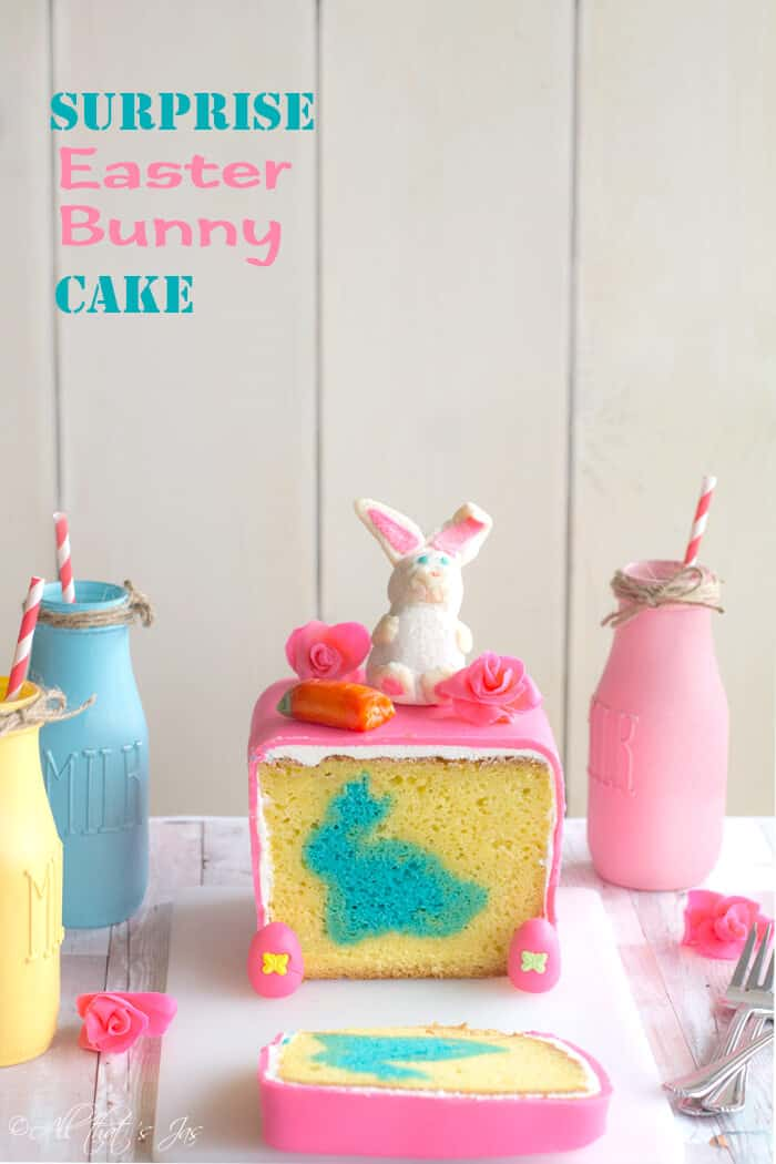 This Easter cake with a bunny in the middle is adorable.