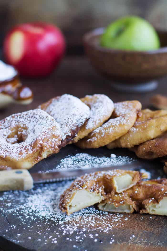 A close up of food, with Apple and Fritter