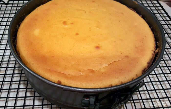 A Cheesecake in a metal pan