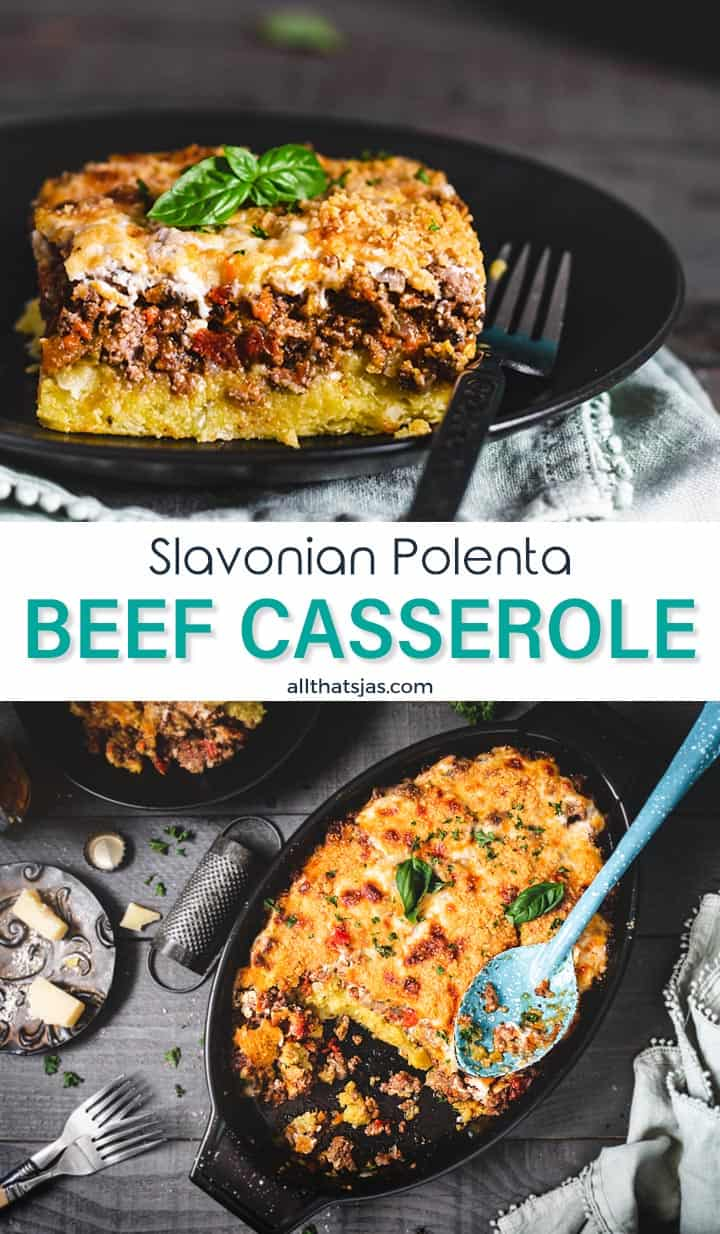 Two photo image with casserole in a pan and on a plate with text in the middle