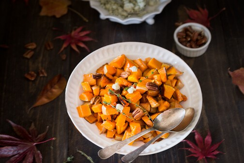 Roasted butternut squash with pecans and blue cheese adds the right ...