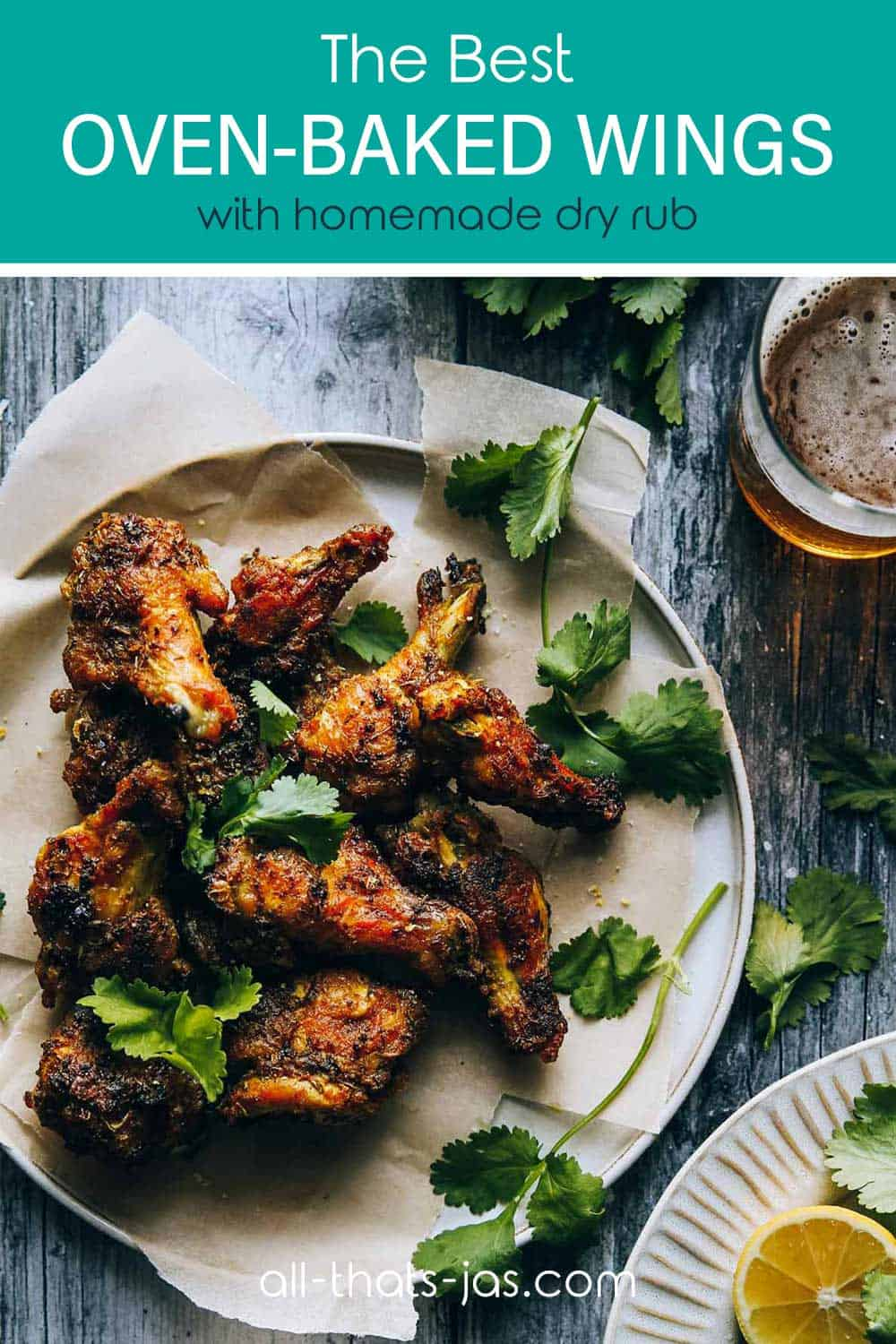A bunch of crispy wings on a plate with text overlay.