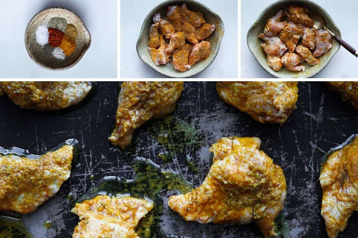 Spices in a bowl, wings mixed with spices in a bowl, and spread on a baking sheet.