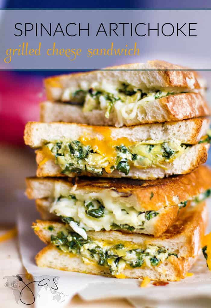spinach artichoke grilled cheese sandwich - All that's Jas