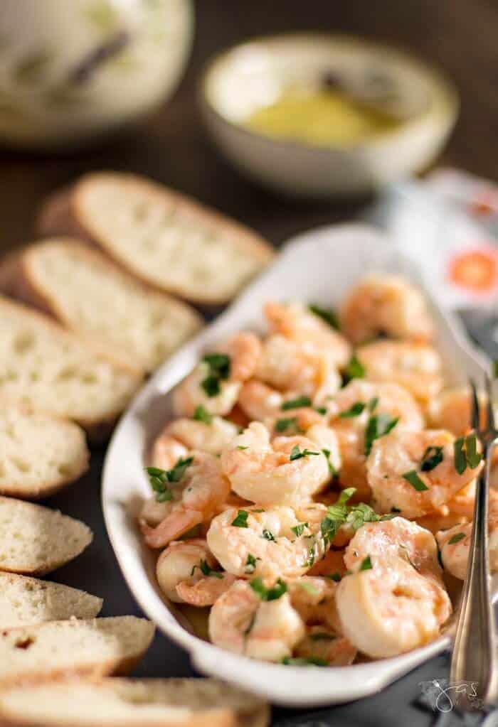 Delicious garlic shrimp tapas