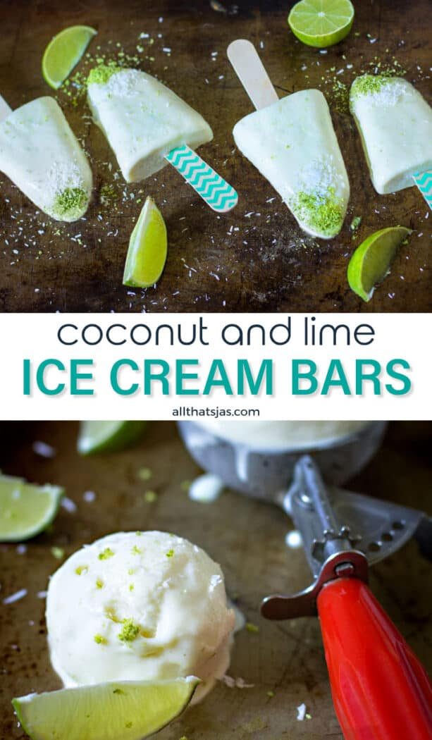 Two photos image of coconut lime frozen treat and text overlay in the middle