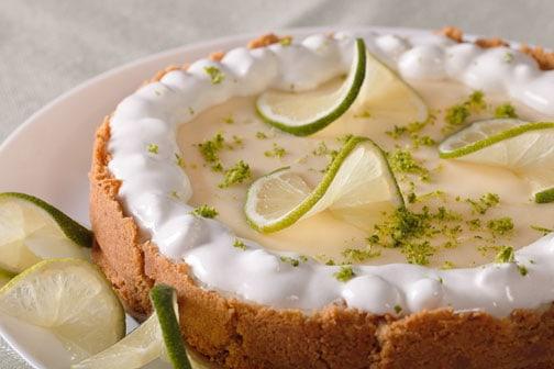 A close up of key lime pie.