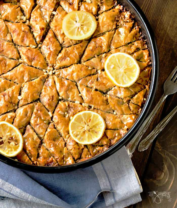 Round baklava cut into a star shape.
