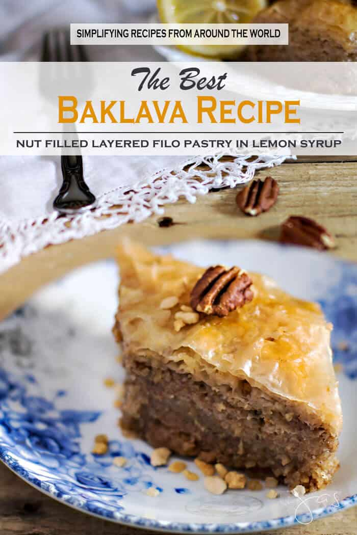 Fillo dough sheets filled with ground nuts and drenched in syrup make baklava