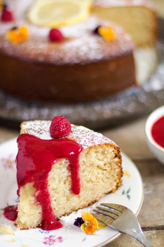 This fresh raspberry sauce drizzled over French lemon yogurt cake is decadent.