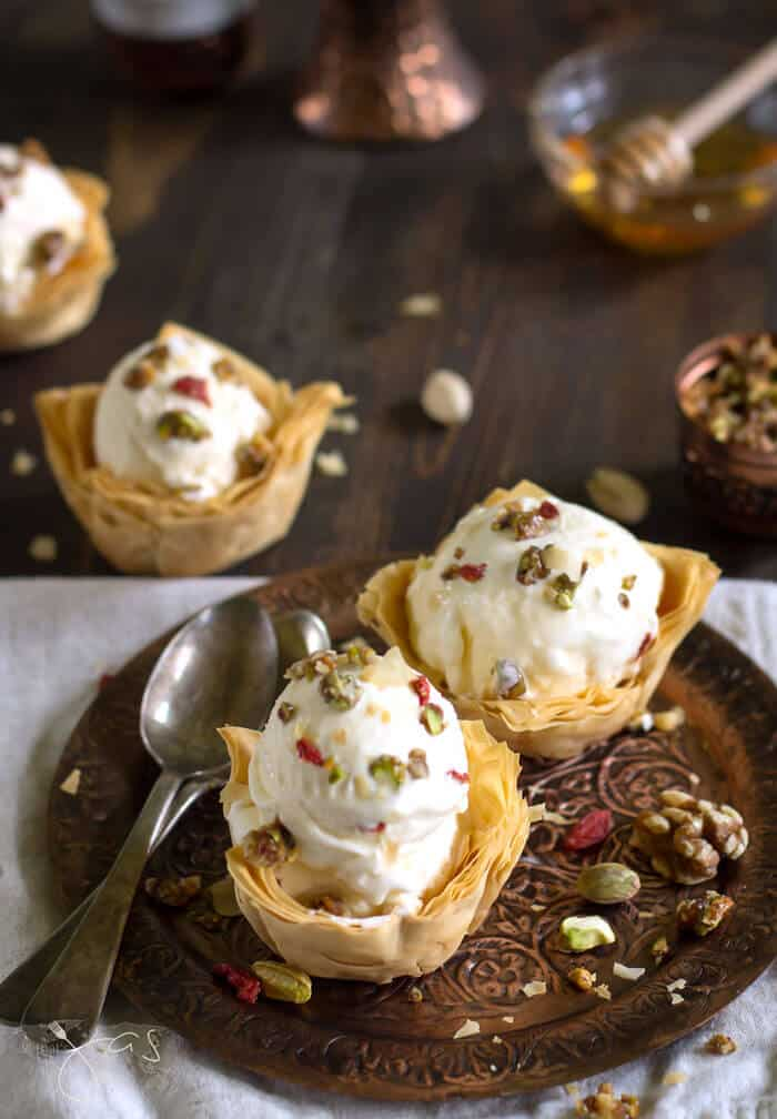 These baklava ice cream desserts are a sweet treat topped with a crunch.