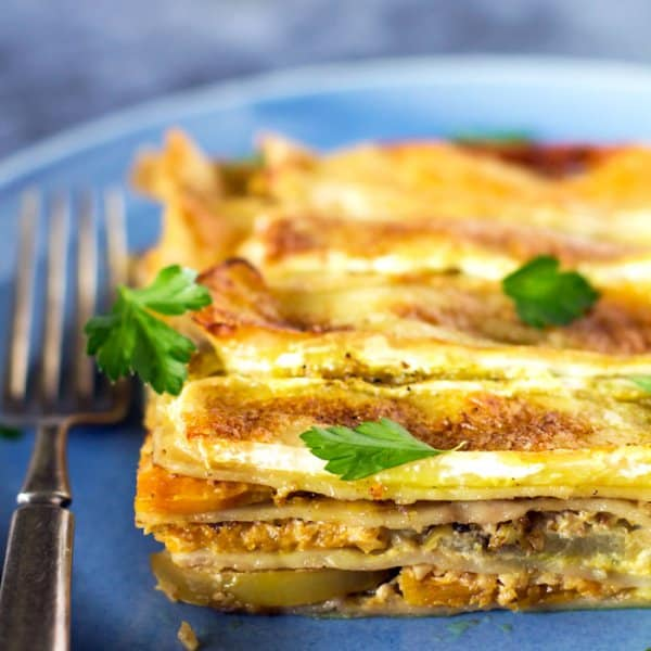 Vegetarian apple and butternut squash lasagna recipe.