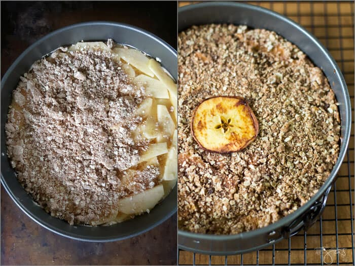 The layering of the apple cheesecake with oatmeal streusel.