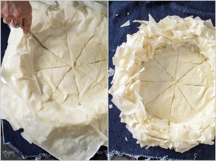 Ruffle fillo crust for Indiana Hoosier pie and make even cuts.