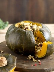 A close up of the stuffed buttercup squash.
