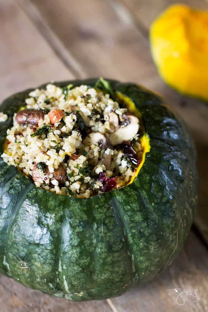 stuffed buttercup squash ready for baking