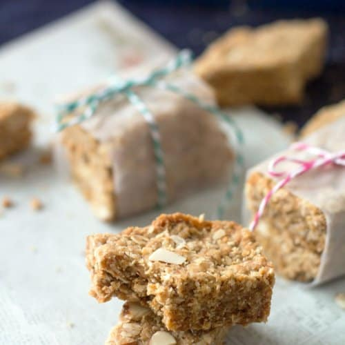 A bite out of the oatmeal cookie bar
